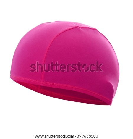 Pink swim cap isolated on white