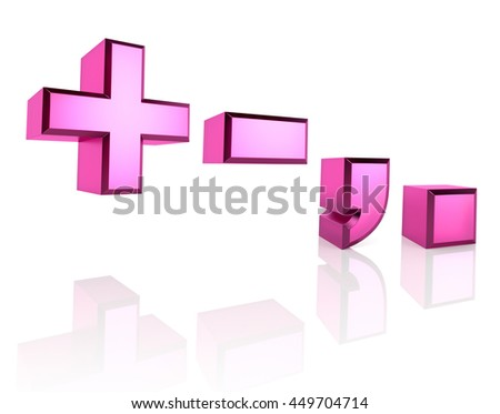 Pink symbols isolated on white background. 3d rendering - stock photo