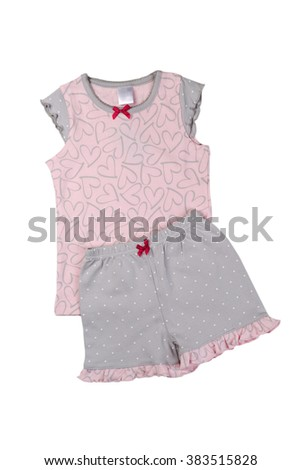 Pink T-shirt and gray shorts set. Isolate on white. - stock photo