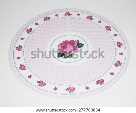 Pink tablecloths with ornaments as decoration for parties - stock photo