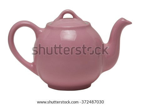 Pink teapot isolated against a white background - stock photo