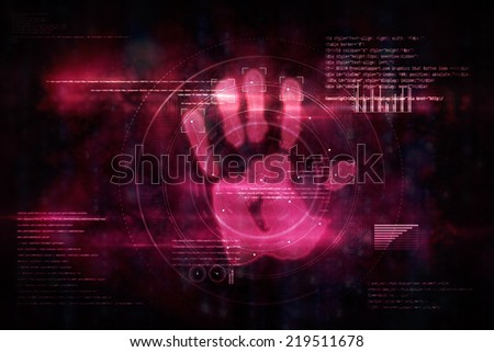 Pink technology hand print authorization on black background - stock photo