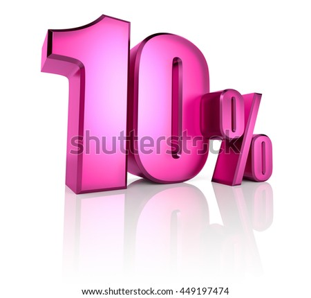 Pink ten percent sign isolated on white background. 3d rendering - stock photo