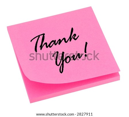 Pink thank you note isolated on white.