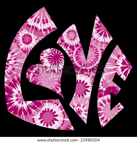 Pink Tie Dyed Love Symbol - stock photo