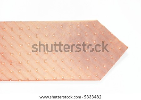 Pink tie isolated on white closeup