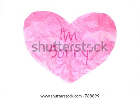 "pink tissue paper heart with ""I'm Sorry"""