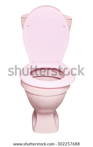 pink toilet bowl, isolated on white background - stock photo