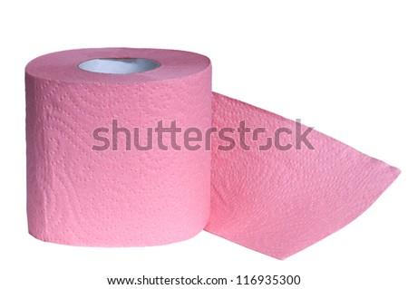 Pink Toilet Paper - stock photo