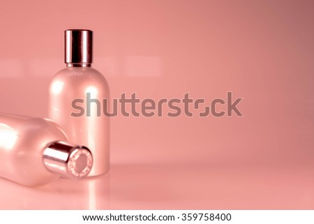 Pink  Tone and Side View : Two aluminum bottles - stock photo
