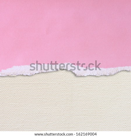 pink torn paper over textured canvas background - stock photo