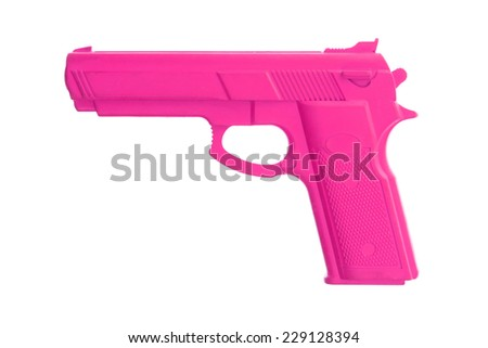 Pink training gun isolated on white, law enforcement - stock photo