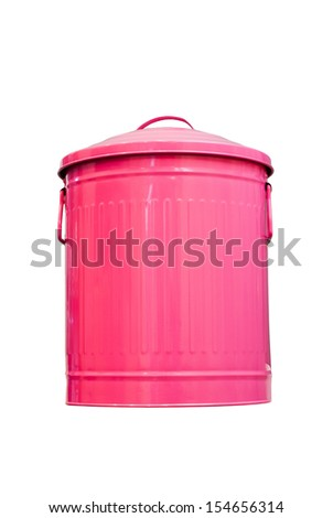 Pink trashcan metal with lid isolated on white
