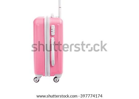pink travel bag isolated on white background - stock photo