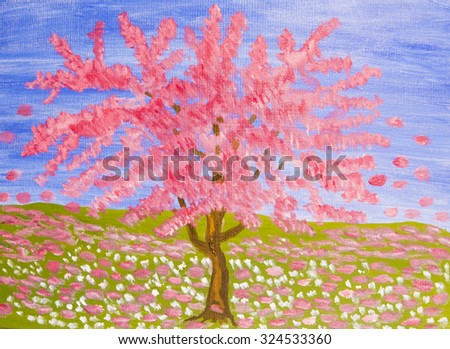 Pink tree on blue sky and meadow (Cercis Canadensis, sakura), oil painting. - stock photo