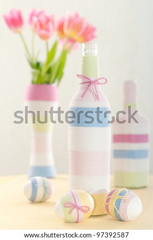 Pink tulips, Easter eggs and handmade yarn wrapped bottle