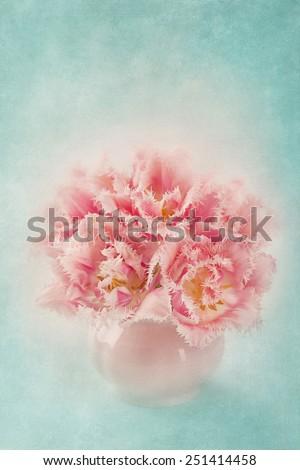 Pink tulips ina white vase - stock photo