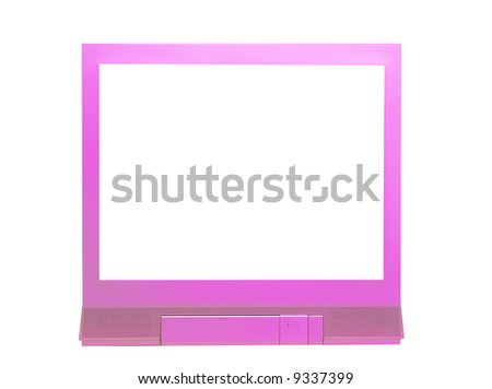 pink tv set isolated on a white background - stock photo
