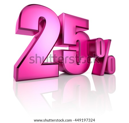 Pink twenty five percent sign isolated on white background. 3d rendering - stock photo