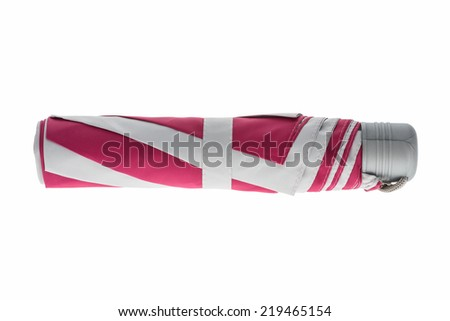 pink umbrella isolated on a white background with a gray handle - stock photo