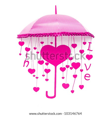 Pink umbrella with heart and love