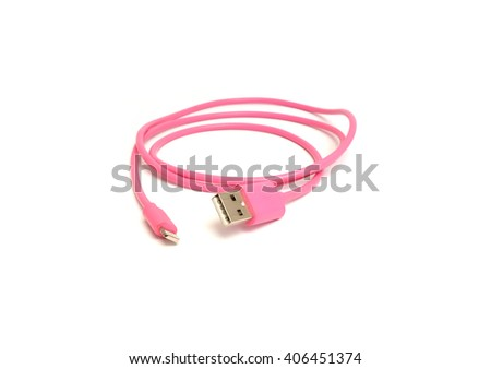 Pink USB cable is white, isolated on white background - stock photo