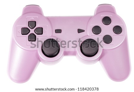 Pink Video Game Controller Isolated on White - stock photo