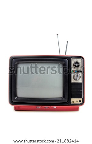 Pink vintage style old television isolated on white