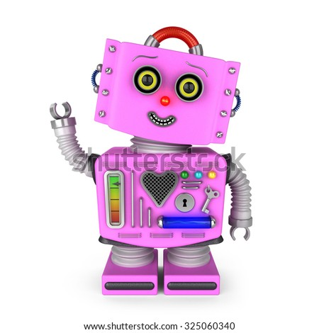 Pink vintage toy robot girl with head tilted to the side smiling and waving hello over white background