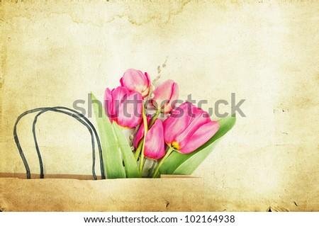 Pink vintage tulips - stock photo