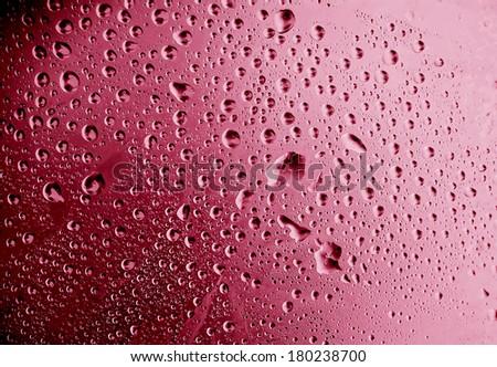pink water drops macro - stock photo