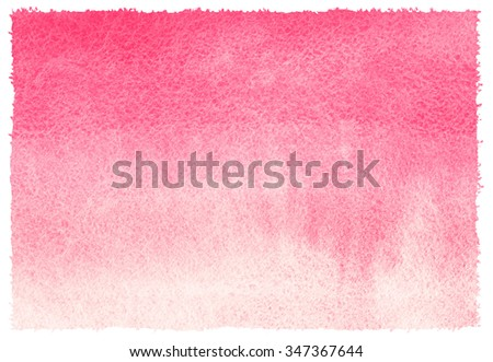 Pink watercolor abstract background with stains. Light red horizontal gradient fill. Valentines day watercolour texture. Hand drawn fill with rough, uneven edges. - stock photo