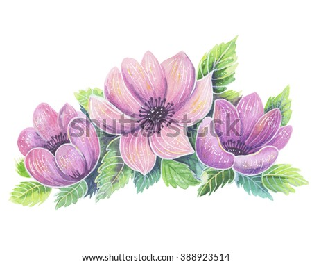 Pink Watercolor Flowers with leaves on white background. - stock photo