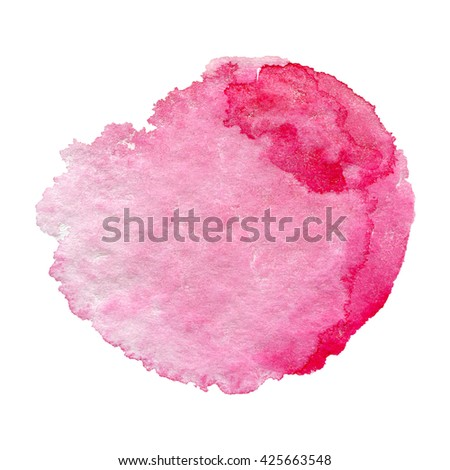 pink watercolor hand painted background isolated on white