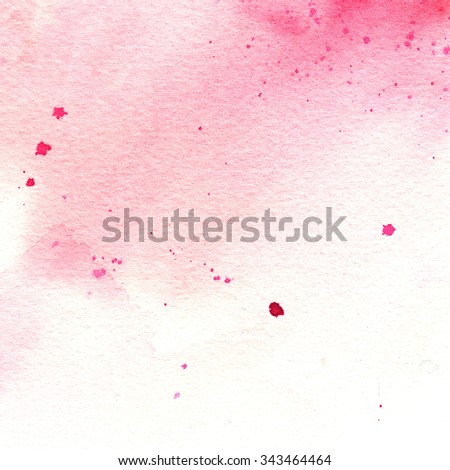 pink watercolor stain with splashes, spot, dots, abstract watercolor background - stock photo