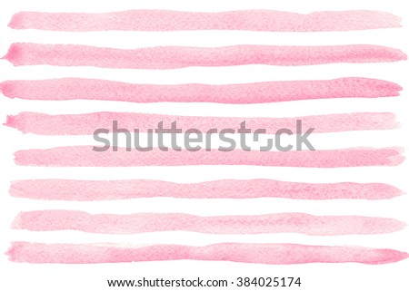 Pink watercolor striped background - stock photo