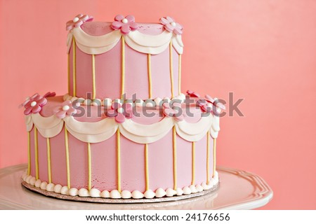 Pink wedding cake. - stock photo