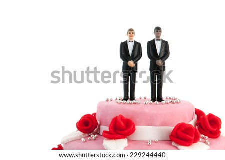 Pink wedding cake with red roses and gay couple on top - stock photo