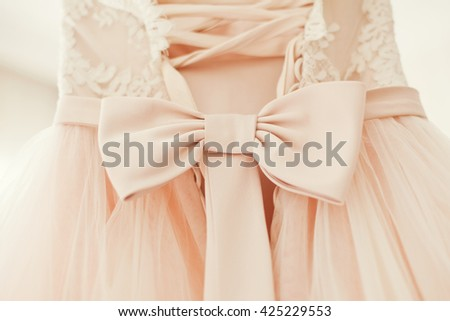 pink wedding dress with bow