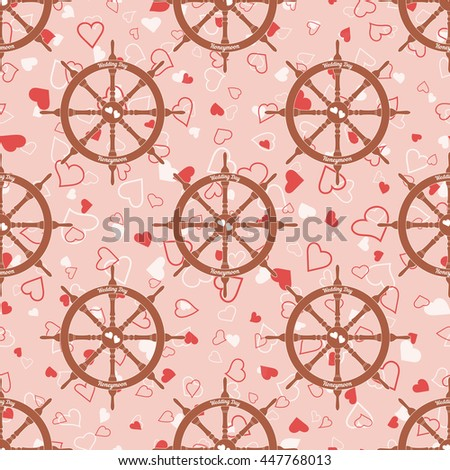 Pink wedding seamless pattern with steering wheel with hearts. Element for your wedding designs, valentines day projects, and other your romantic projects. Romantic fabric pattern