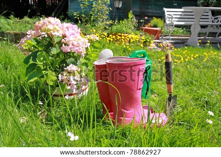 Pink wellingtons in the Spring garden