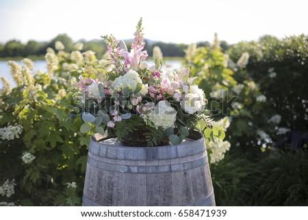 Pink White Green Wedding Ceremony Flower Stock Photo 658471939 ...