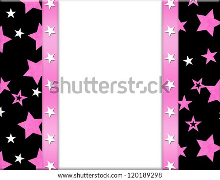 Pink, White, Black and Star  Frame for your message or invitation with copy-space in the middle - stock photo