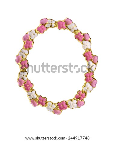 Pink & White Flower Picture Frame with Gilt Gold Trim - stock photo