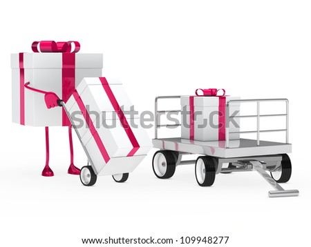 pink white gift figure pull hand truck