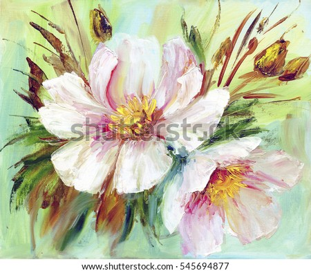 Pink wild peony background. Oil painting floral texture