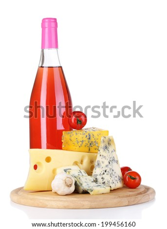 Pink wine and different kinds of cheese isolated on white - stock photo