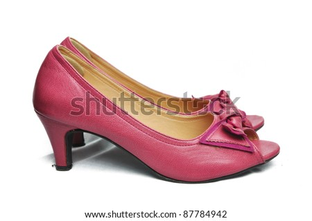Pink woman shoe isolated on white background - stock photo