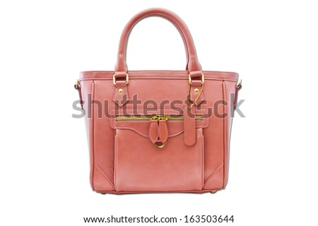pink women bag isolated background with path - stock photo