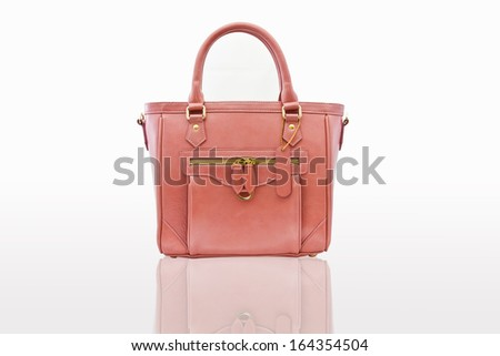 pink women bag isolated background with path